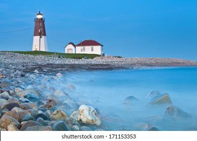 Point Judith lighthouse Famous Rhode Island Lighthouse at dusk