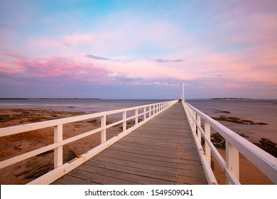 Point Lonsdale's iconic pier on a summer's evening on the Bellarine Peninsula, Victoria, Australia