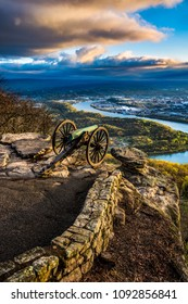 Point Park Lookout Mountain Civil War Battlefield Cannon Monument near downtown Chattanooga Tennessee and the Tennessee River.