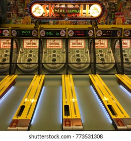 Point Pleasant, NJ, USA May 29, 2016 A skee ball game awaits players in an arcade off the boardwalk in Point Pleasant, New Jersey
