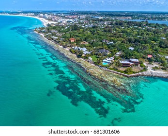 Point of Rocks on Siesta Key in Sarasota Florida Drone Shot With Clear Water