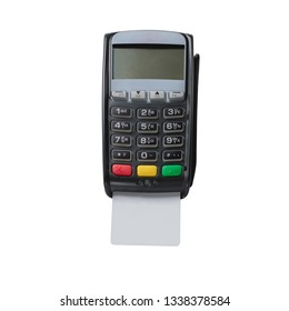 Point of sale terminal cards payments. Close up photo of POS payment terminal isolated on white background. Concept for banking, finance and payment systems.