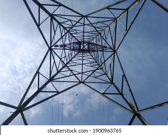 point of view from below high voltage power tower in Indonesia on 2017.