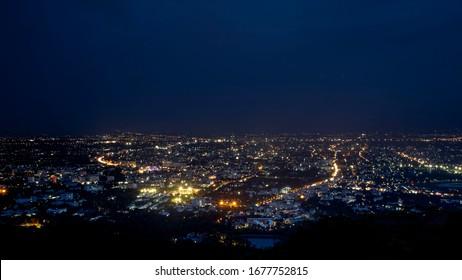 Point view in Doi Suthep,Chiang Mai,Thailand.Night in Chiang Mai.City scape in Chiang Mai.