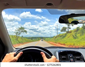 Point of view of driver single road Brazil