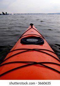Point of view from kayak cockpit, portrait orientation.