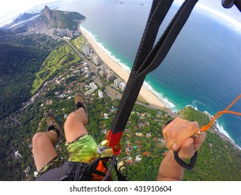 Point of view from paragliding pilot