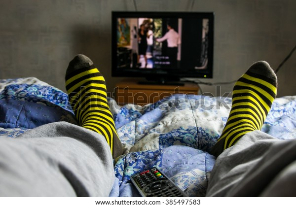 Point of view TV watching. Man watch movie.