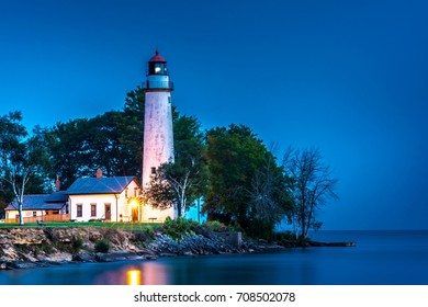Pointe Aux Barques Lighthouse at Sunrise in Michigan