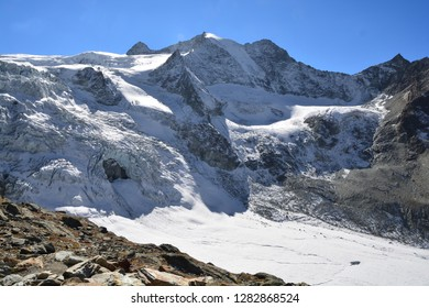 Pointe de Mourti above the Moiry Glacier in the Val d'Anniviers in the Southern Swiss Alps above Grimentz