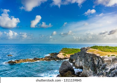 Pointe des chateaux rocks seen from the cross, Saint-François, Guadeloupe, French West-Indies