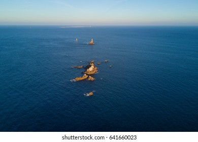 Pointe du Raz aerial view. A rocky, dangerous point that extends into the Atlantic from western Brittany, France.