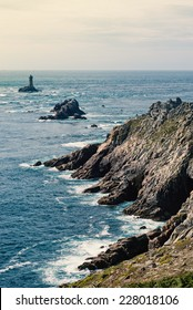 Pointe du Raz scenic view. A rocky, dangerous point that extends into the Atlantic from western Brittany, France.