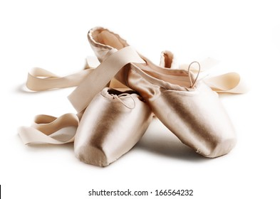 Pointe shoes isolated over white background