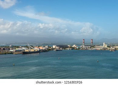 Pointe-a-Pitre, Guadeloupe - December 20, 2016: View of Pointe-a-Pitre harbor, Guadeloupe, an overseas region of France, Lesser Antilles, Caribbean. Industrial landscape.