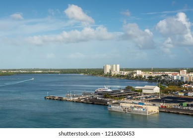 Pointe-a-Pitre, Guadeloupe - December 20, 2016: Waterfront of Pointe-a-Pitre City, Guadeloupe, an overseas region of France, Lesser Antilles, Caribbean.