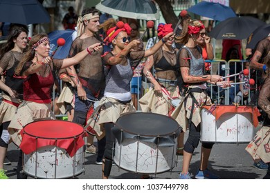 Pointe-a-Pitre, Guadeloupe, February 11, 2018: Drummers from the percussion group Batala Gwada playing drums and participating at carnival parade in Guadeloupe, Caribbean