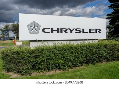 Pointe-Claire, Quebec, Canada - September 3, 2021: Close up of Chrysler sign at one of the car dealer in Pointe-Claire, Quebec, Canada. Chryslers is a  automobile manufacturers in the United States.