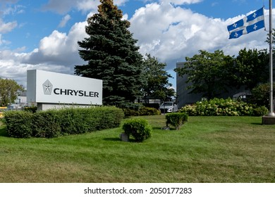 Pointe-Claire, Quebec, Canada - September 3, 2021: A Chrysler car dealer in Pointe-Claire, Quebec, Canada. Chryslers is a  automobile manufacturers in the United States.