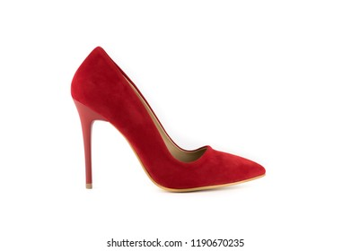 3590ff51e009 Pointed female shoes with high heels isolated on a white background. Photos  of women s shoes