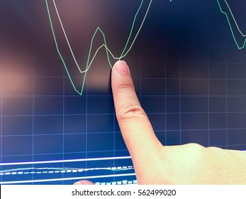 Pointed graph golden cross with finger,business concept
