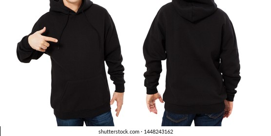 Pointed man in black sweatshirt template isolated. Male sweatshirts set with mockup and copy space. Sweat shirt design front and back view - close up
