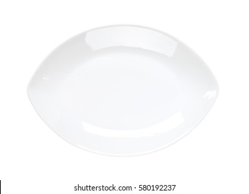 Pointed oval white coupe plate