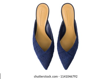 Pointed toe mules shoes in navy blue. Slip on flat shoes made of fabric, top view isolated on white background