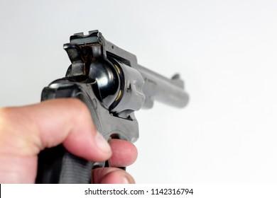 Pointing a 357 Magnum Handgun at a traget