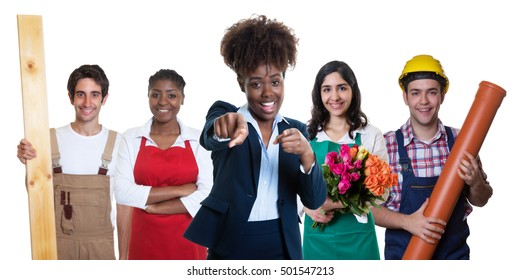 Pointing african american businesswoman with group of other apprentices on an isolated white background for cut out