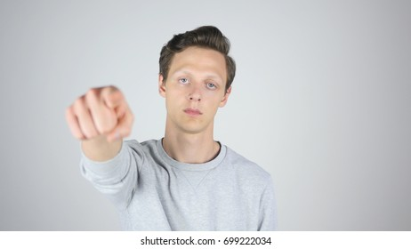 Pointing with Finger Toward Camera, Young Man Gesture, Isolated