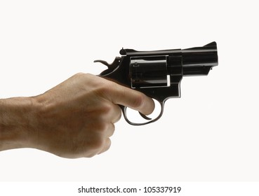 Pointing gun on white background,holding guns.