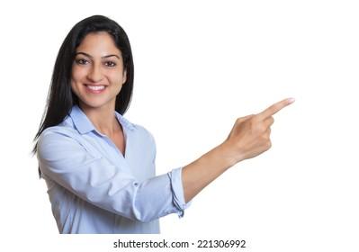 Pointing turkish businesswoman