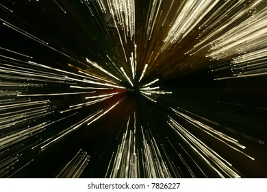 Points of light from optical fibre on a long exposure