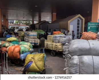 Poipet, Cambodia - February 20, 2018: The Poipet border crossing between Cambodia and Thailand. All the goods have to be tranported by handcarts,  cars and trucks are not allowed to cross the border.