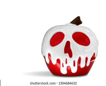 Poison apple with scull face icon