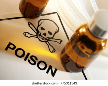 Poison bottles with Poison symbol and Skull and Crossbones.