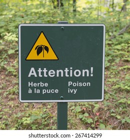 Poison Ivy Warning sign in a forest, Manoir-Papineau National Historic Site, Montebello, Quebec, Canada
