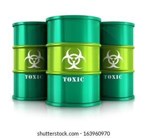 Poisonous and dangerous materials disposal and utilization industry concept: group of green metal barrels, drums or containers with poison, hazardous or radioactive materials isolated on white
