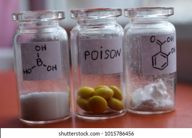 Poisonous tablets, salicylic and boric acids.