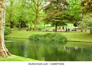 Poissy, France - may 1 2018 : the Meissonier park in spring