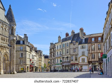 POITIERS, FRANCE - MAY 13, 2017: Place Charles de Gaulle with historical buildings
