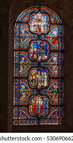 Poitiers, France - September 12, 2016: Colorful stained glass window in the Church of St. Radegund at Poitiers in France