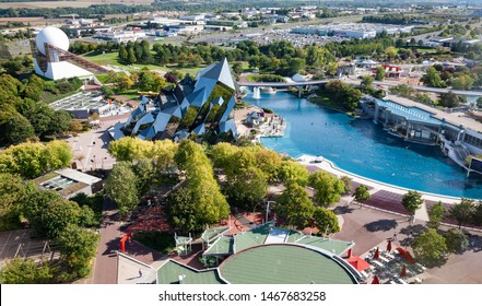Poitiers, France - September 21 2010 : Futuroscope, or Parc du Futuroscope is a French amusement park that lets you experience sounds, images, and sensations. Aerial view from the Gyrotour.