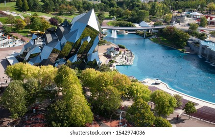 Poitiers, France - September 21 2010 : Futuroscope amusement park, aerial view from the Gyrotour. Kinémax quarz building.