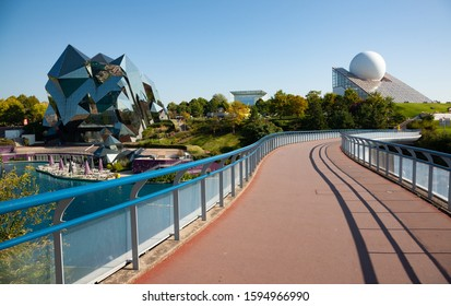 Poitiers, France - September 21 2010 : Futuroscope, or Parc du Futuroscope is a French amusement park that lets you experience sounds, images, and sensations.
