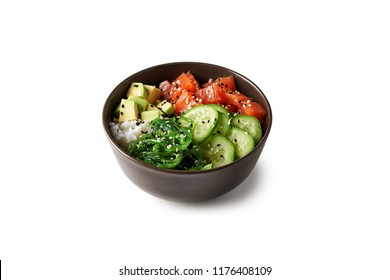 poke bowl with salmon islated on white background