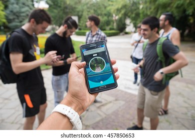 Pokemon GO augmented reality smartphone game player shows his pokemon, Plovdiv, Bulgaria, July 24, 2016.