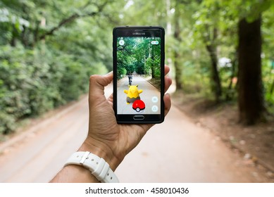 Pokemon GO ios and android smartphone game with augmented reality with Drowzee, Sofia, Bulgaria, July 25, 2016.