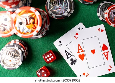 Poker Aces pair and dice